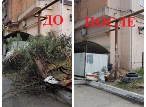 Ветки вывезли, а шины оставили жителям Новороссийска