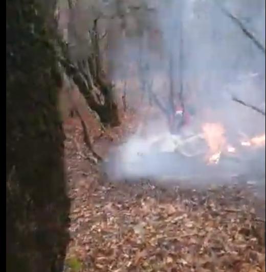 Появились первые кадры с места крушения вертолета под Новороссийском