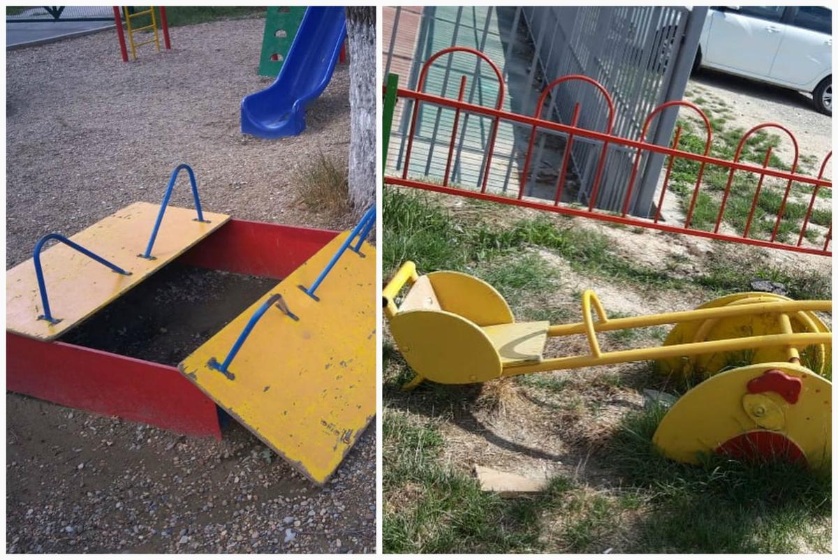 В Приморском районе Новороссийска приступили к ремонту детских площадок