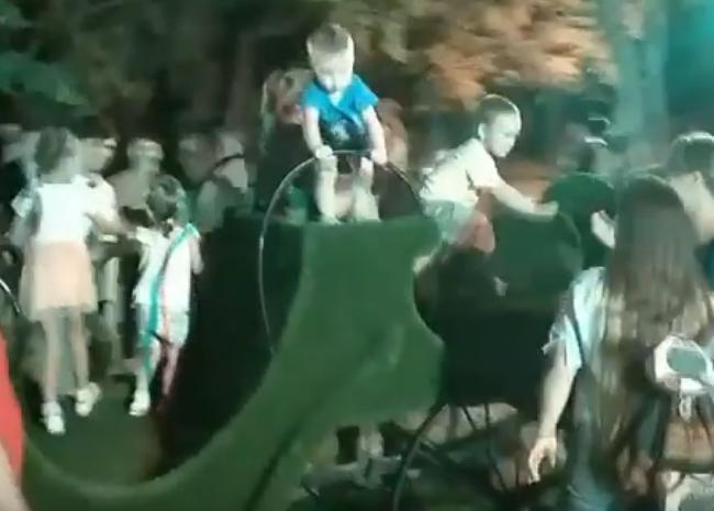 Зеленые лошадки в парке Фрунзе понравились новороссийским ребятишкам